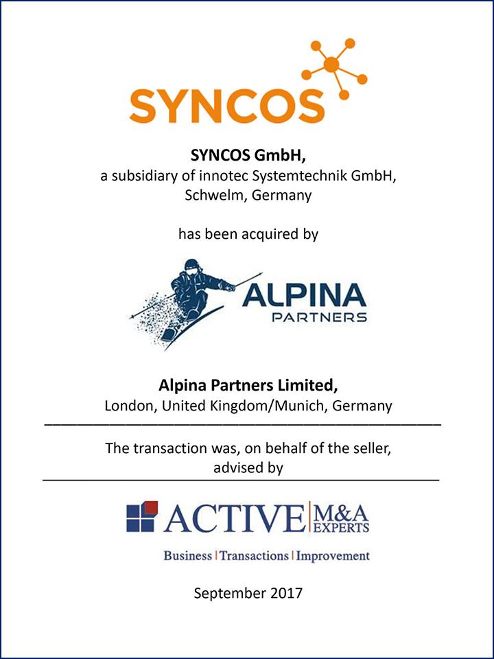 SYNCOS GmbH wurde von ALPINA Partners gekauft