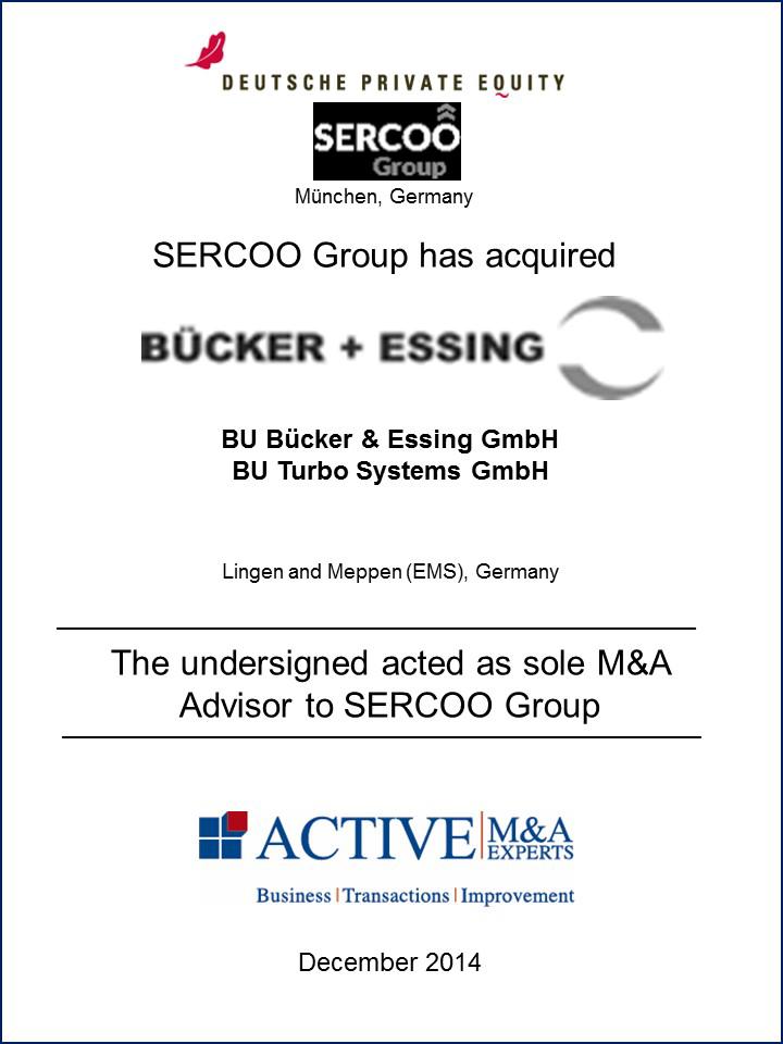 SERCOO Group hat BU Bücker & Essing GmbH und BU Turbo System gekauft