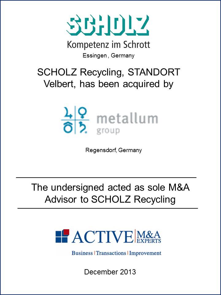 Scholz Recycling wurde von Metallum Group gekauft