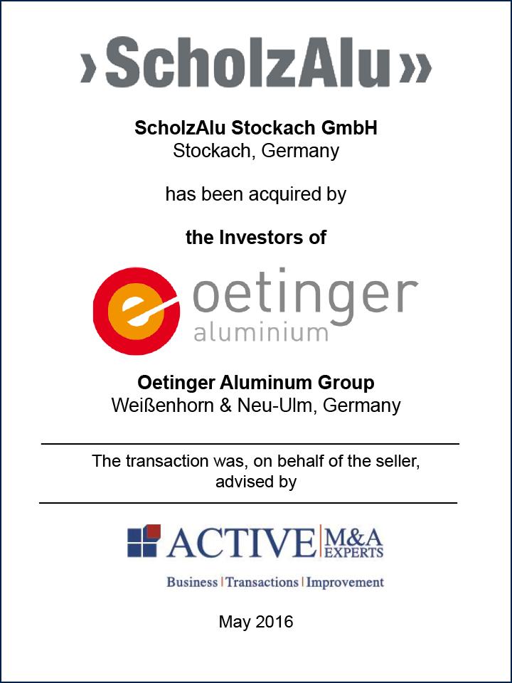 ScholzAlu Stockach GmbH wurde von Oetinger Aluminium Group gekauft