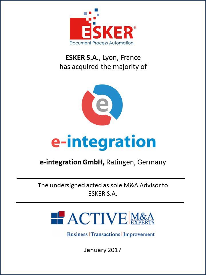 ESKER S.A. hat e-integration GmbH gekauft
