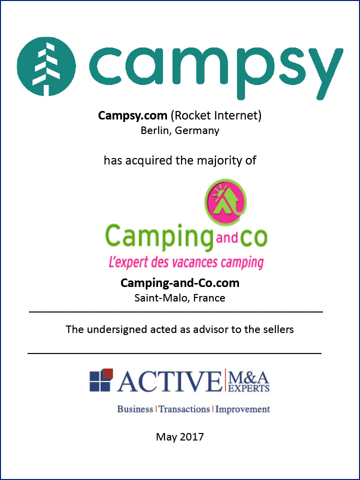 Campsy.com (Rocket Internet) hat Camping-and-Co.com gekauft