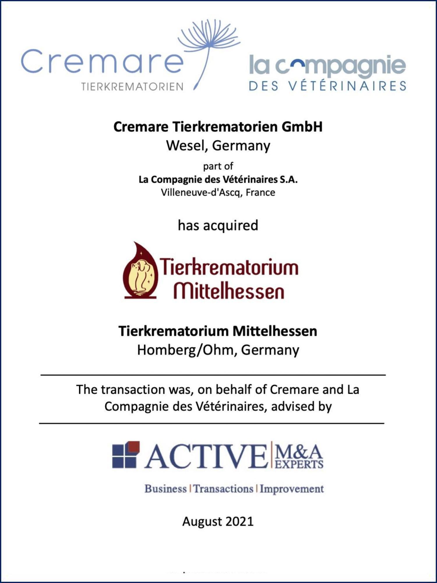 ACTIVE Beratung Cremare kauft Tierkrematorium Mittelhessen