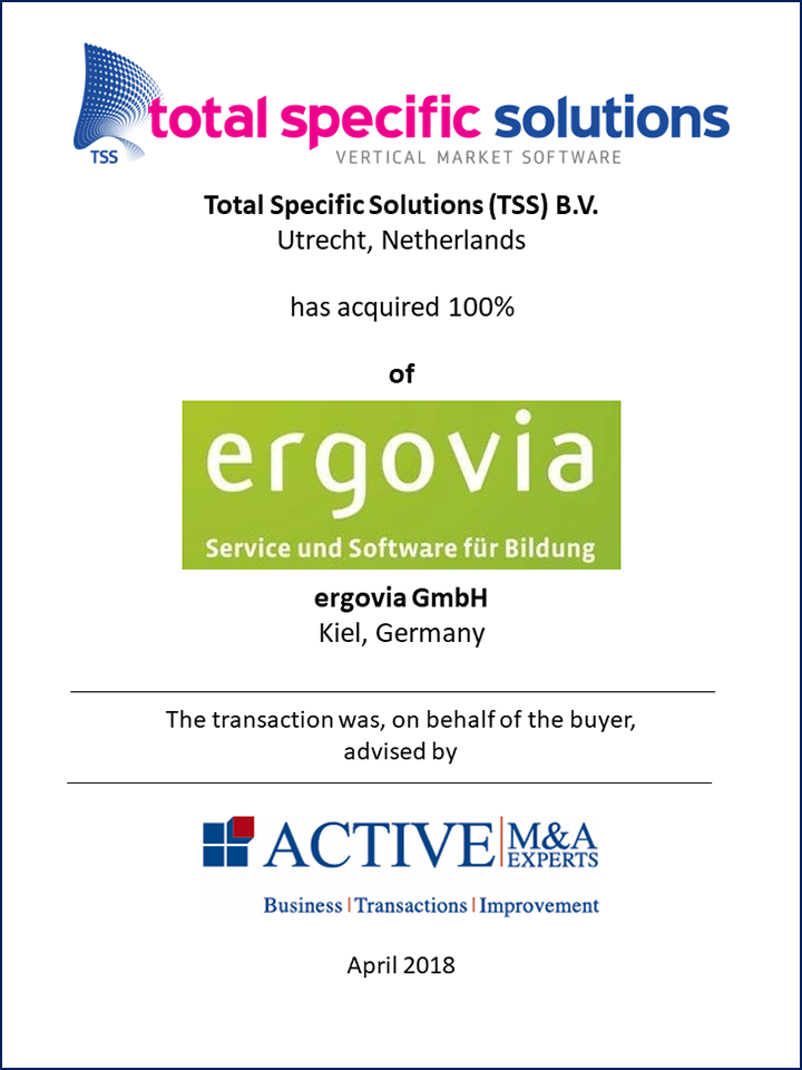 Total Specific Solutions (TSS) B.V. hat ergovia GmbH gekauft