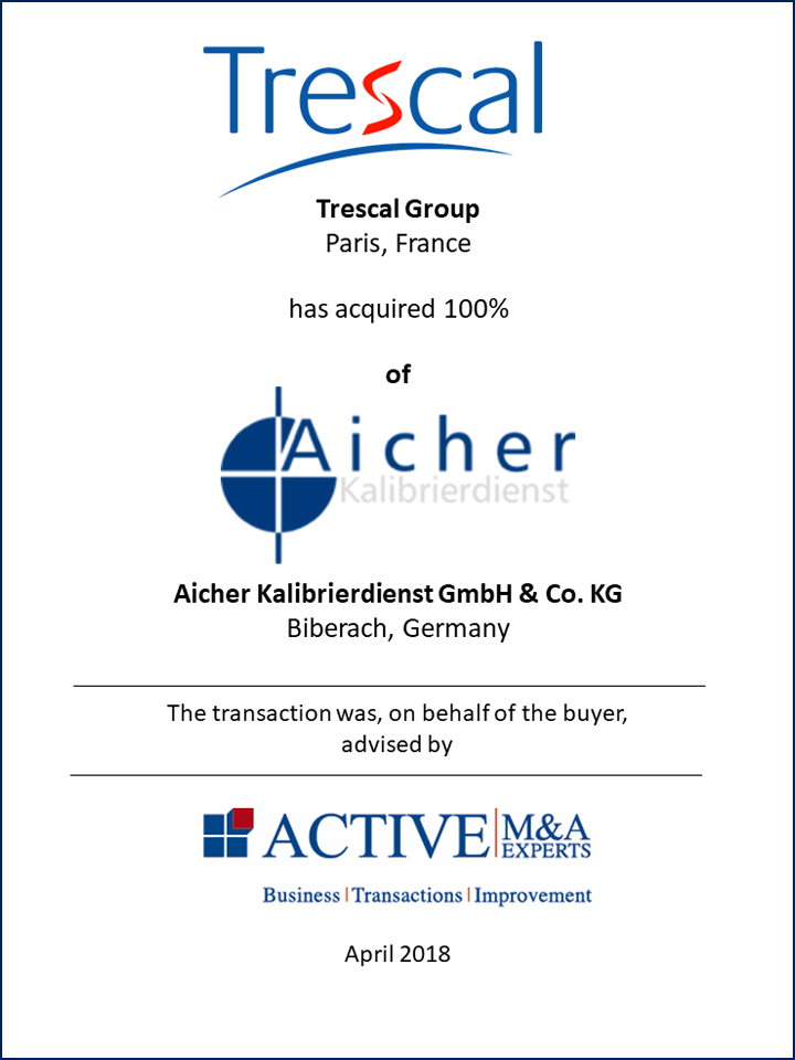 Trescal Group hat Aicher Kalibrierdienst GmbH & Co. KG gekauft