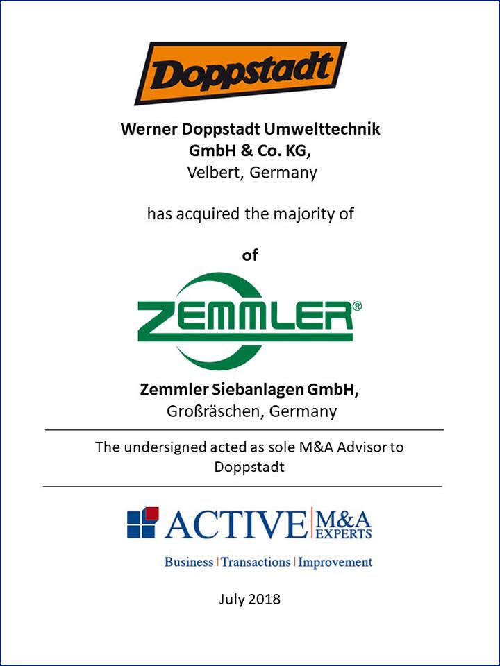 Werner Doppstadt Umwelttechnik hat den Großteil von Zemmler Siebanlagen gekauft