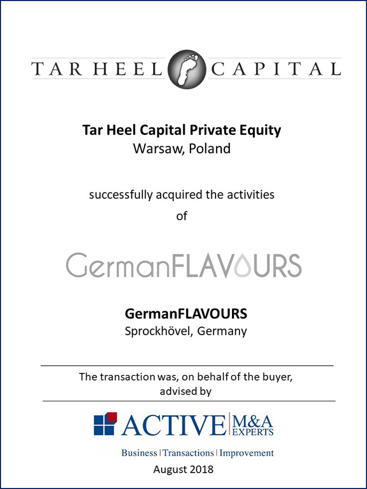 Tar Heel Capital Private Equity hat GermanFLAVOURS gekauft