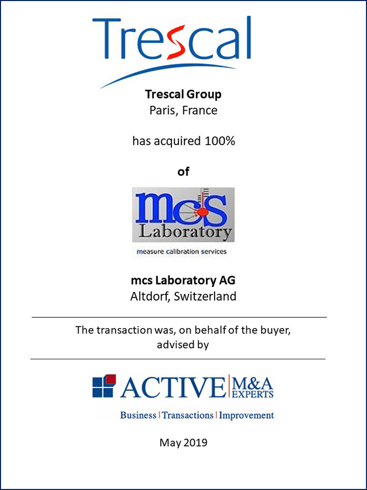 Trescal Group hat mcs Laboratory AG gekauft