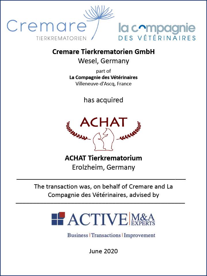 Cremare Tierkrematorien GmbH kauft ACHAT Tierkrematorium