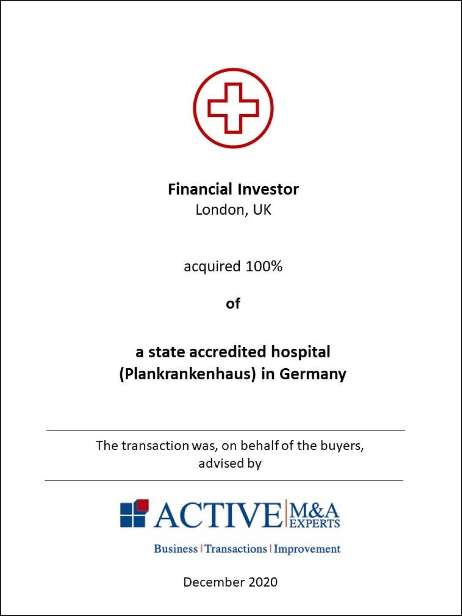 Investor kauft Krankenhaus in Deutschland