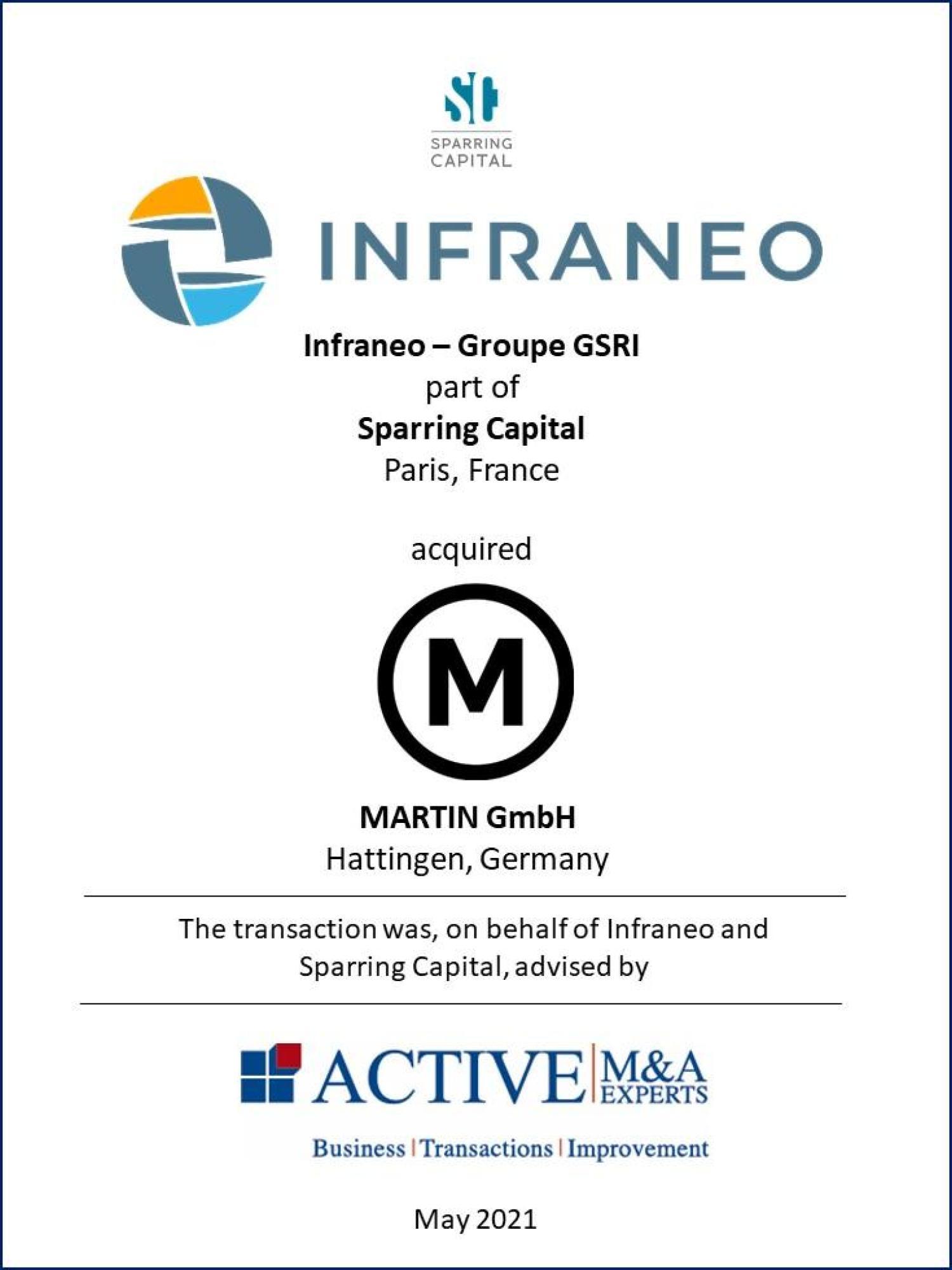 Infraneo - Groupe GSRI kauft MARTIN GmbH, ACTIVE-Beratung